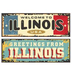 vintage tin sign illinois united states vector image