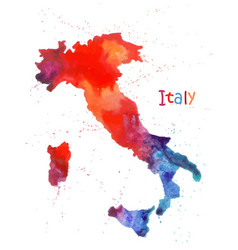 Watercolor map italy stylized image with spots vector