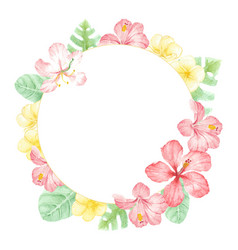 watercolor red summer hibiscus circle wreath frame vector image