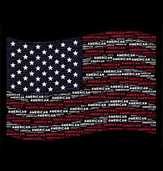 Waving usa flag stylization of american text vector