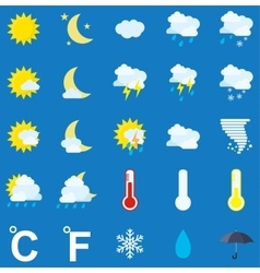 Weather icons on blue background vector image