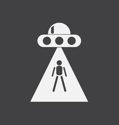 White icon on black background flying saucer vector