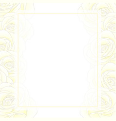 white rose banner card border vector image