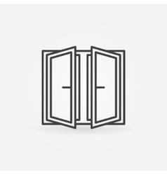 Wide open window icon vector