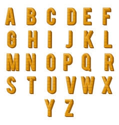 wood alphabet font letters design vector image