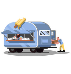 workers in ice cream food truck vector image
