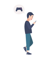 Young boy walking on street and playing online vector