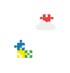 flat design style concept of three puzzle pieces vector image