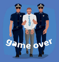 police officers arrested man in office suit vector image vector image