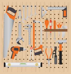 repair and construction working tools on peg vector image