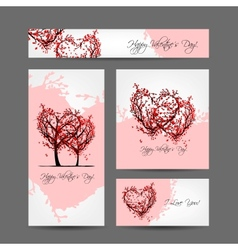 Set of valentine cards design with sakura trees vector image