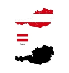 Austria country black silhouette and with flag on vector image vector image