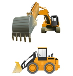 construction machines on white background vector image vector image