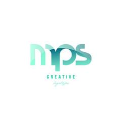 Green gradient pastel modern mps m p s alphabet vector