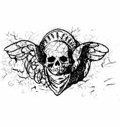 grunge skull vector image vector image