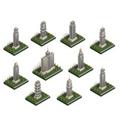 isometric city buildings set vector image