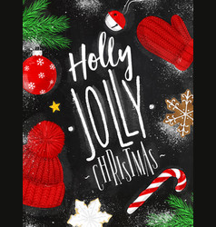 poster holly jolly christmas chalk vector image vector image