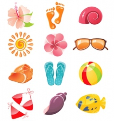 summer time icons vector image