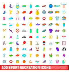 100 sport recreation icons set cartoon style vector image