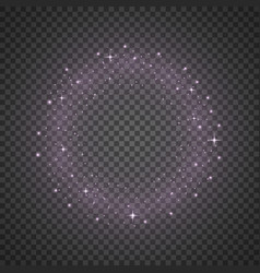 circle of glitter particles purple color vector image