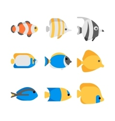 Cute tropical sea fish icons vector image