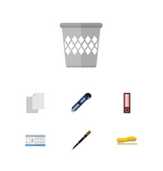 flat icon tool set of nib pen date block vector image