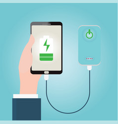 human hand holding smartphone charging connect to vector image vector image