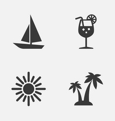 summer icons set collection of ship trees vector image