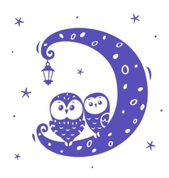 Owls on the moon vector image