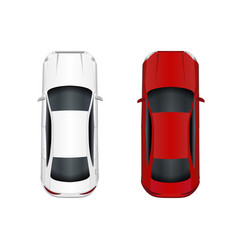 two cars white and red isolated on white vector image vector image