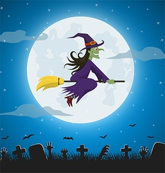 Witch flying on a magic broomstick vector image vector image