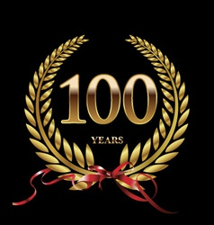 100 years anniversary laurel wreath vector