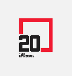 20 year anniversary square template design vector