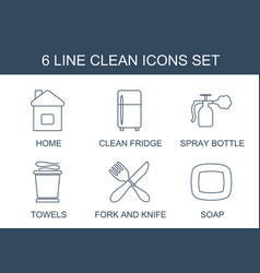 6 clean icons vector