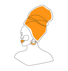 African woman face in one line drawing portrait vector