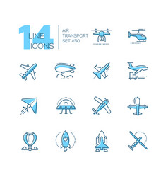 Air transport - thin line design icons set vector