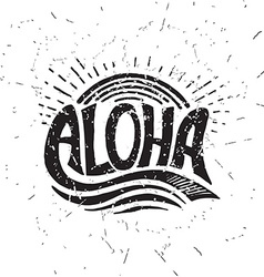 Aloha surfing lettering calligraphy vector