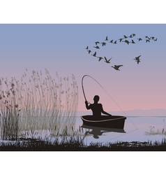 angler on a boat vector image