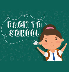 Back to school card with student girl vector