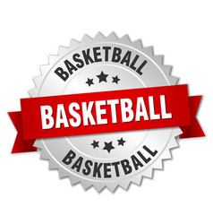 Basketball 3d silver badge with red ribbon vector