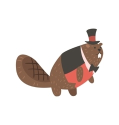 Beaver Dressed As Gentleman Forest Animal Dressed vector