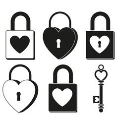 black and white padlock ornate key silhouette set vector image