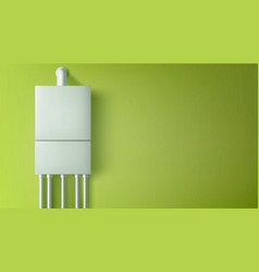 boiler water heater with plastic tubes on wall vector image