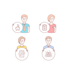 checklist home and phone survey icons gift sign vector image