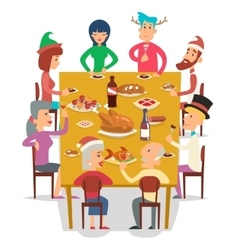 Christmas Group Friends Family Eat Meal Characters vector image