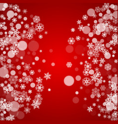 christmas snowflakes on red background vector image
