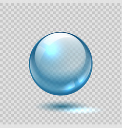 Clear glass bubble realistic blue sphere 3d ball vector