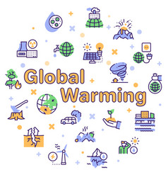 climate change and global warming color linear vector image