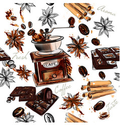 Coffee background with watercolor coffee mills vector