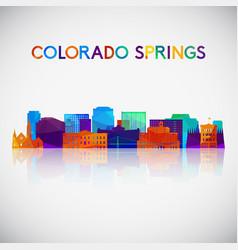 colorado springs skyline silhouette in colorful vector image